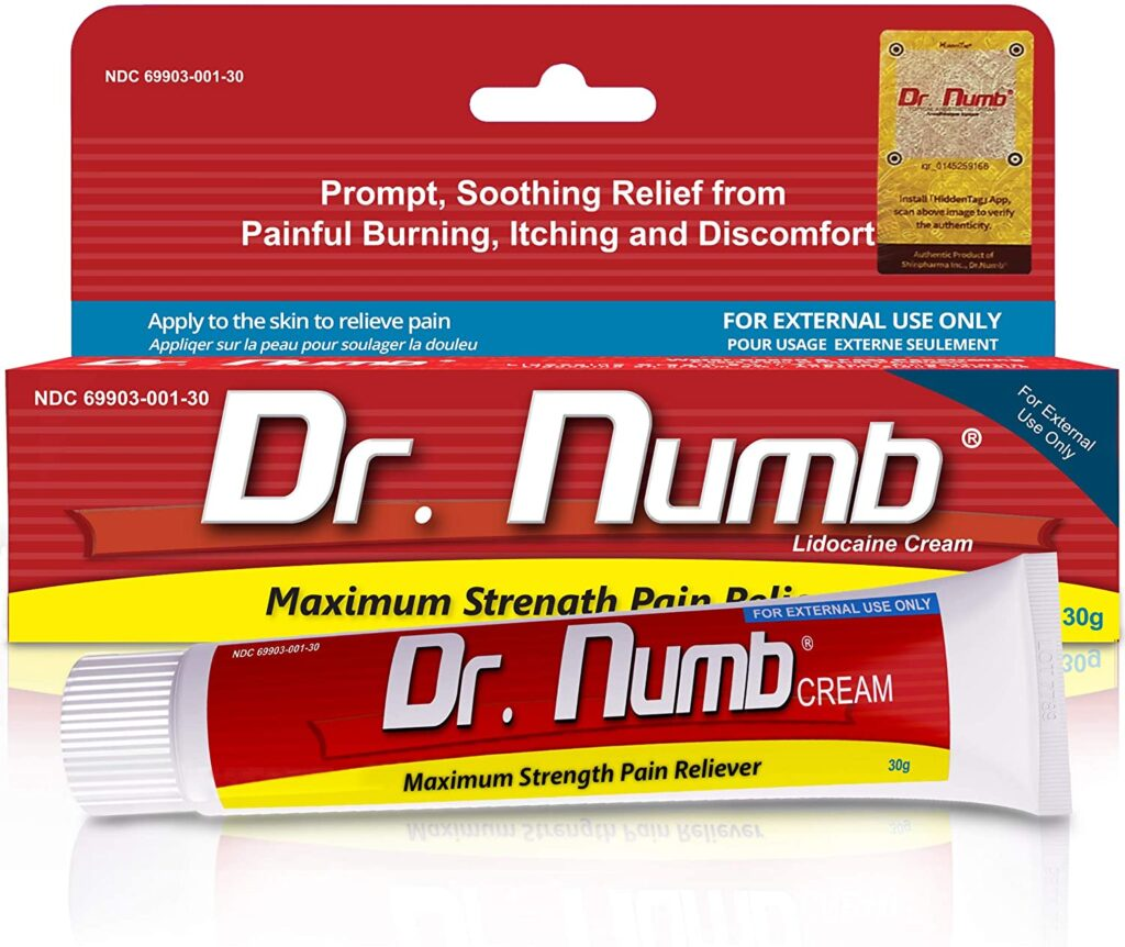 Dr. Numb Lidocaine Topical Anesthetic Numbing Cream for Pain Relief Maximum Strength with Vitamin